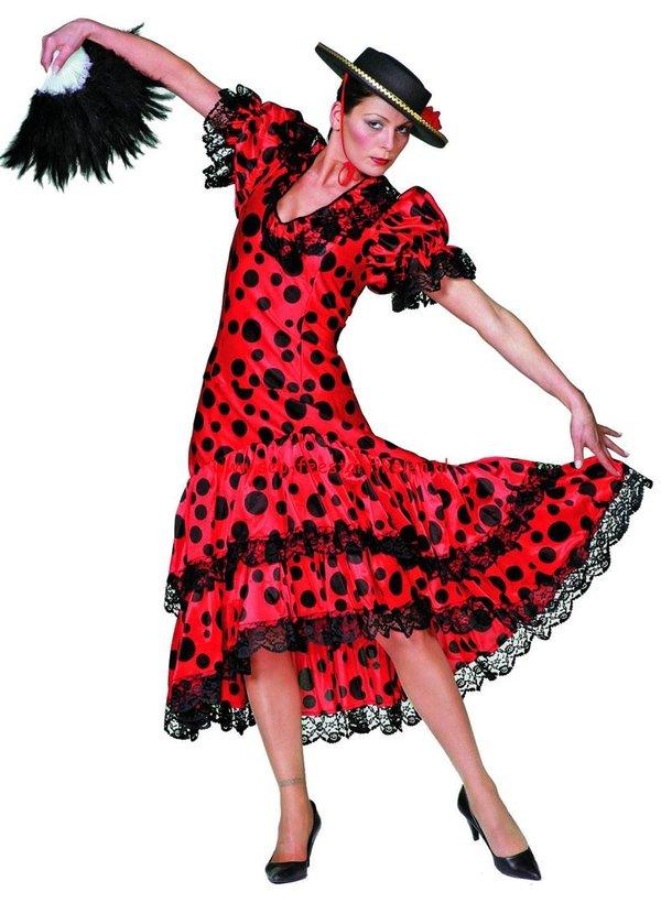 08af352cd0220e Spaanse jurk rood met zwarte stip satijn - huren - PartyCom ...